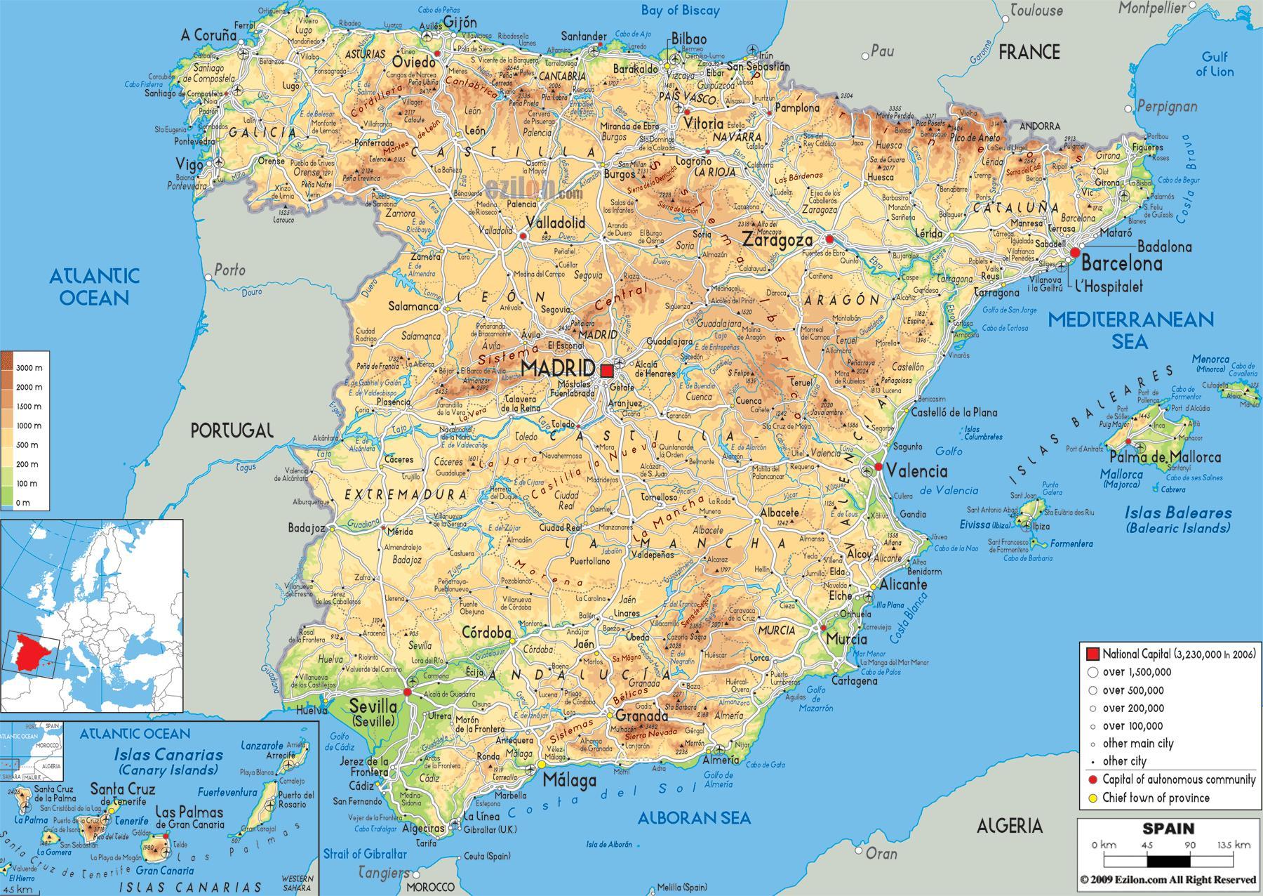 Bjergene I Spanien Kort Bjergkaeder I Spanien Kort Det Sydlige