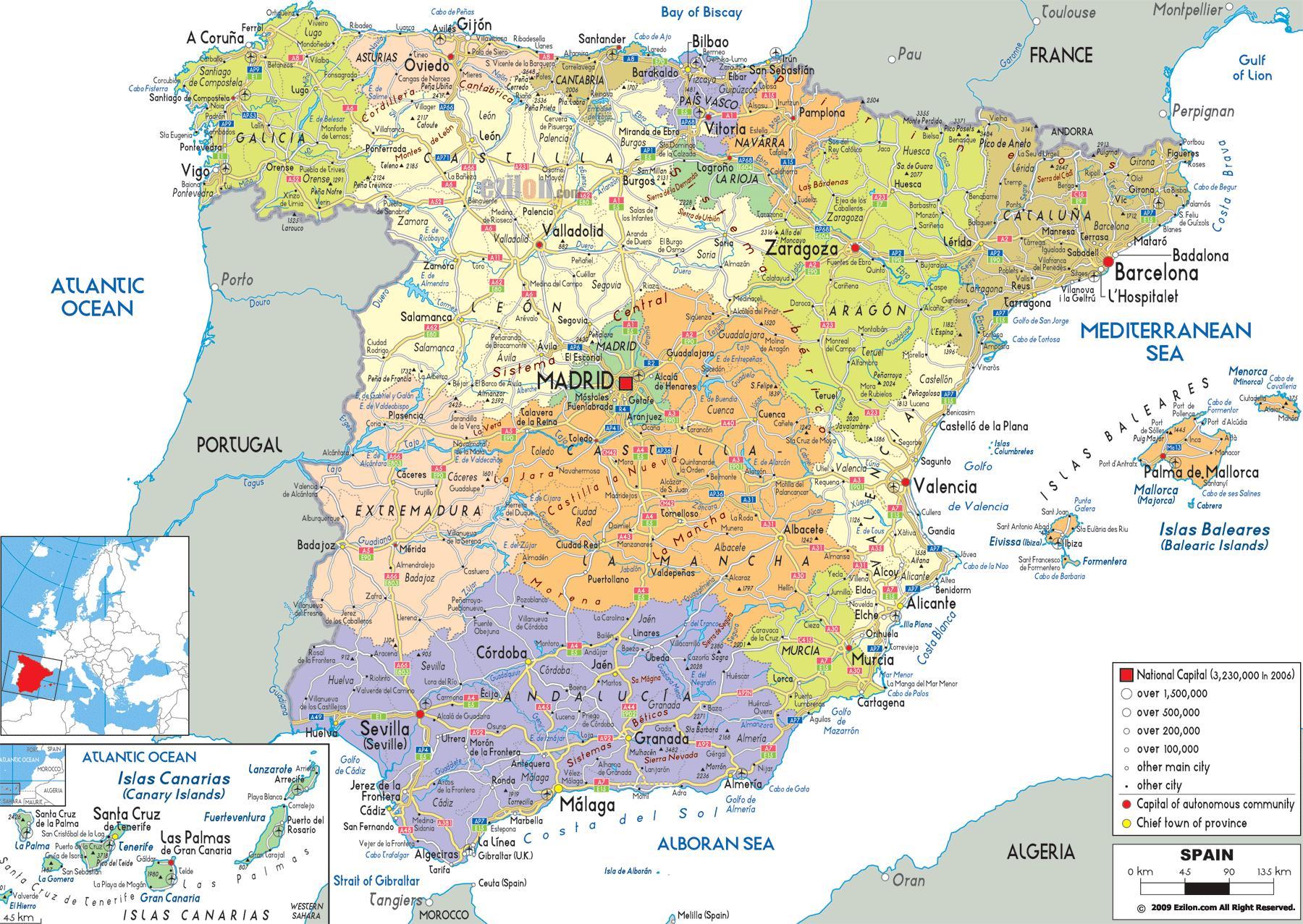 Detaljeret Kort Over Det Nordlige Spanien Nordlige Spanien Kort