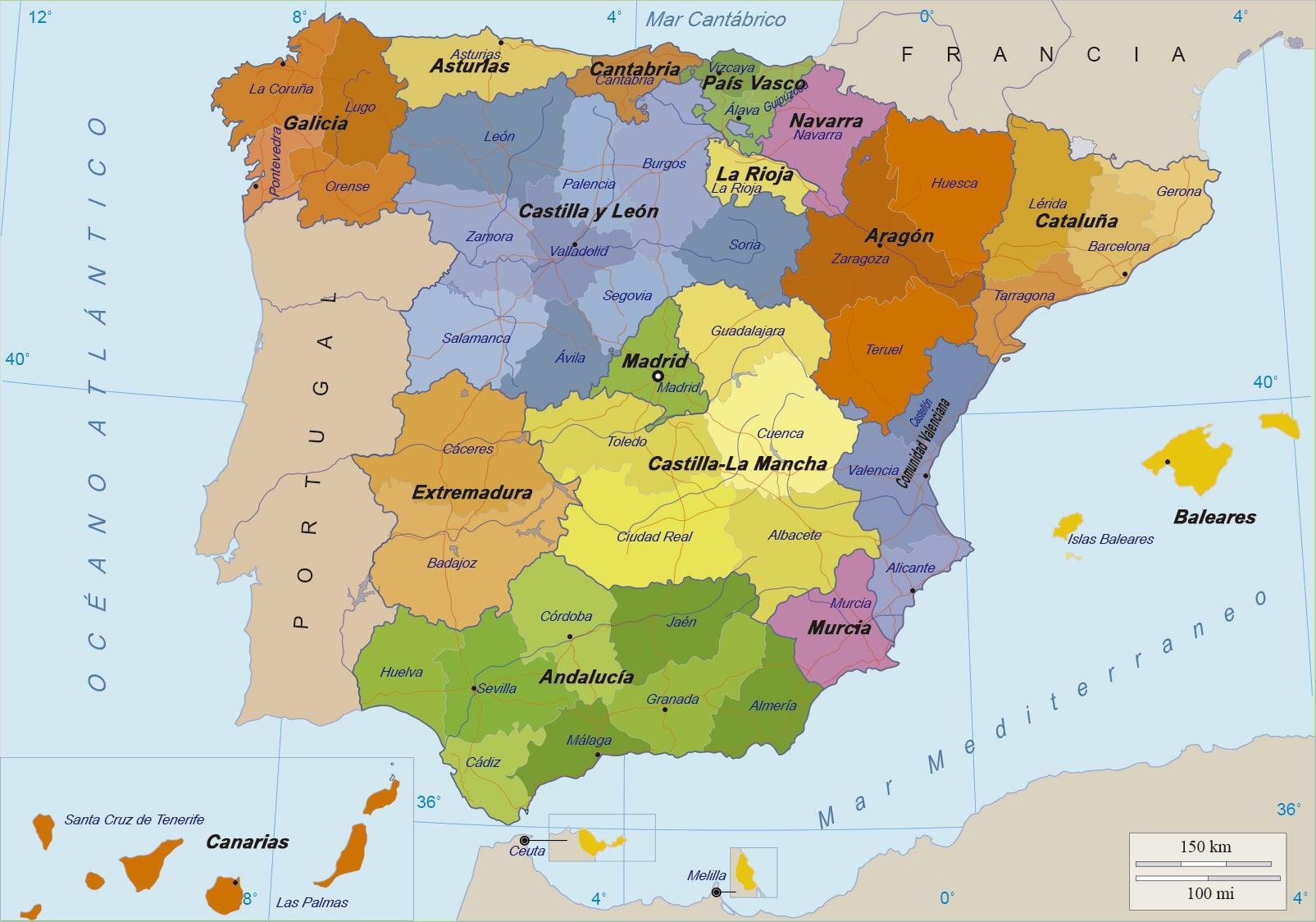 Kort Over Spanien Og Oerne Kort I Spanien Og Oerne Det Sydlige