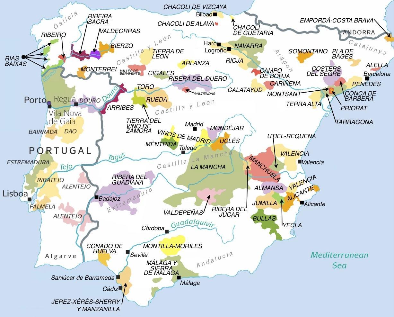 Kort Over Vindistrikter I Spanien Kort Over Spanien Vin Regioner