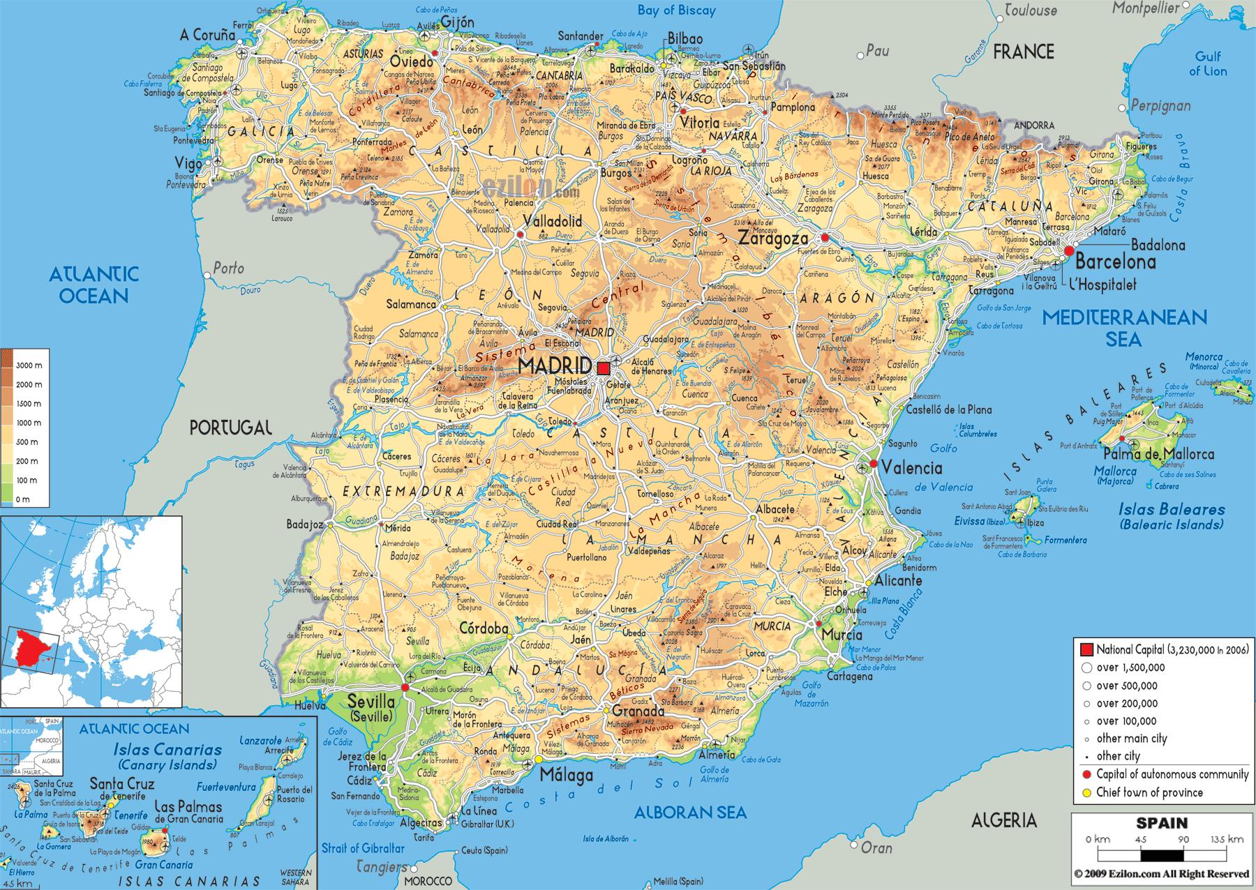 Spanien Skoler Kort Kort Over Spanien Skoler I Det Sydlige