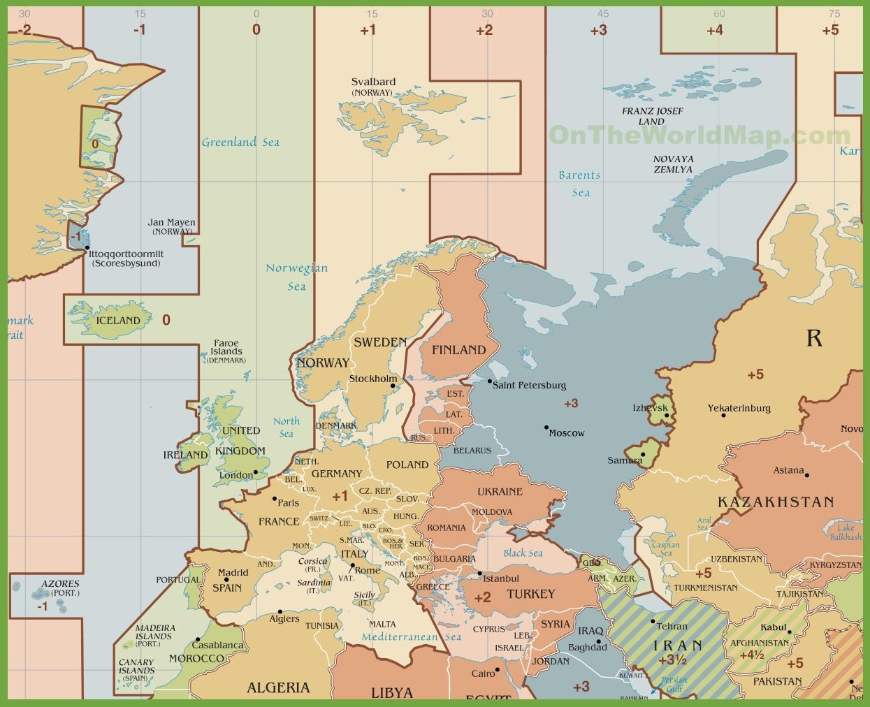 Spanien Tidszone Kort Kort Over Spanien Tidszone Det Sydlige