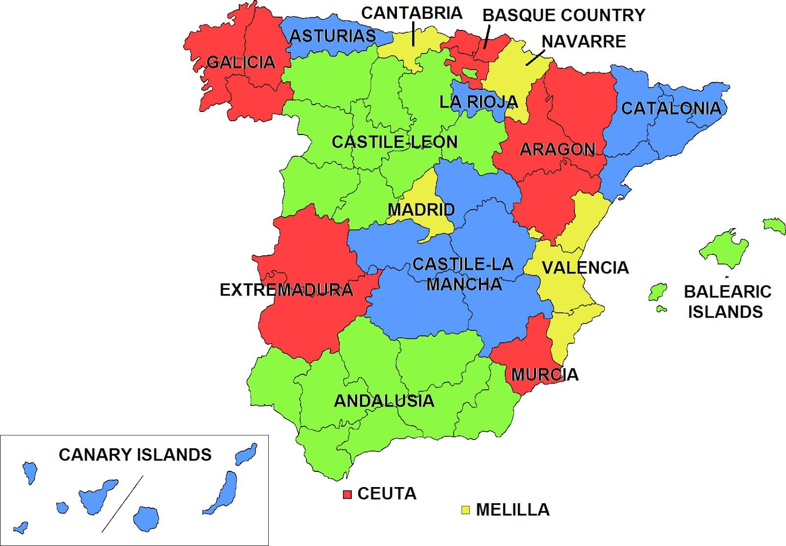 Spaniens Selvstyrende Regioner Kort Kort Over Spanien Autonome