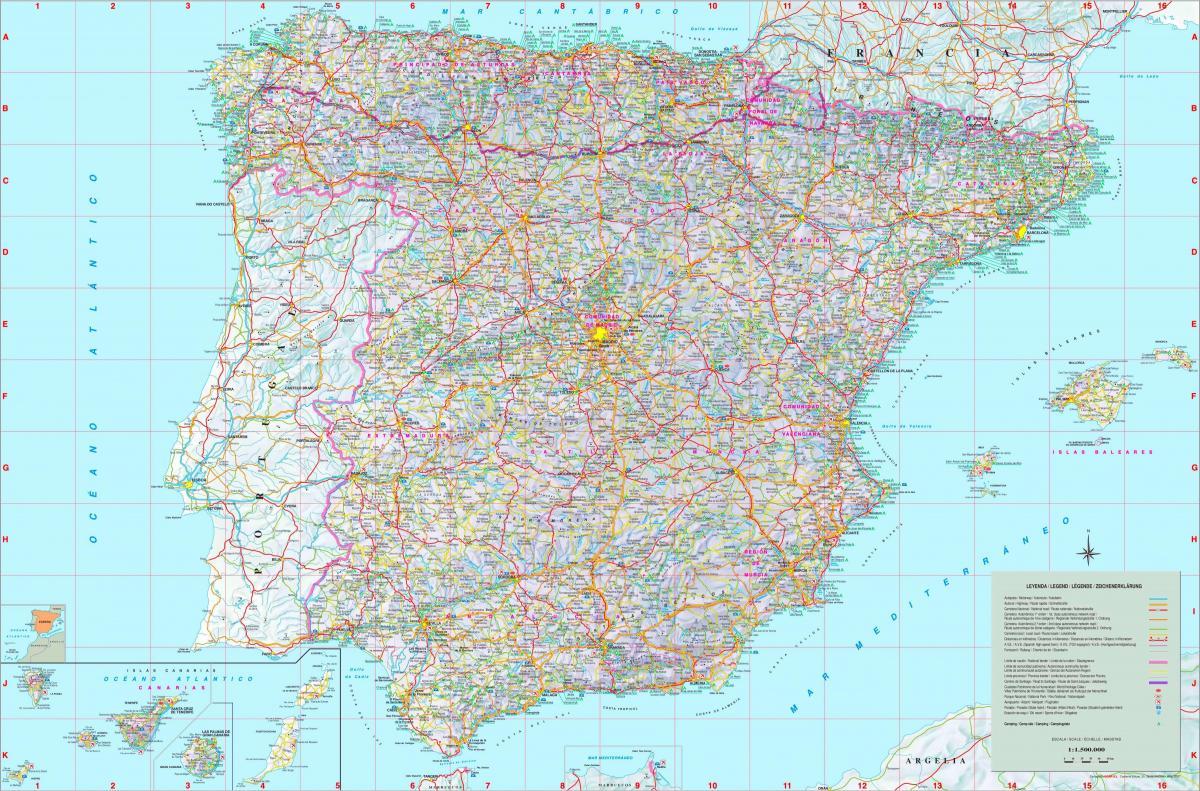 Detaljeret Kort Over Spanien Maerkede Kort I Spanien Det Sydlige