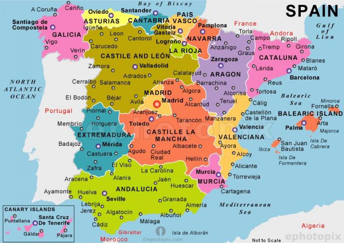 Et Kort Over Spanien De Bedste Kort I Spanien Det Sydlige