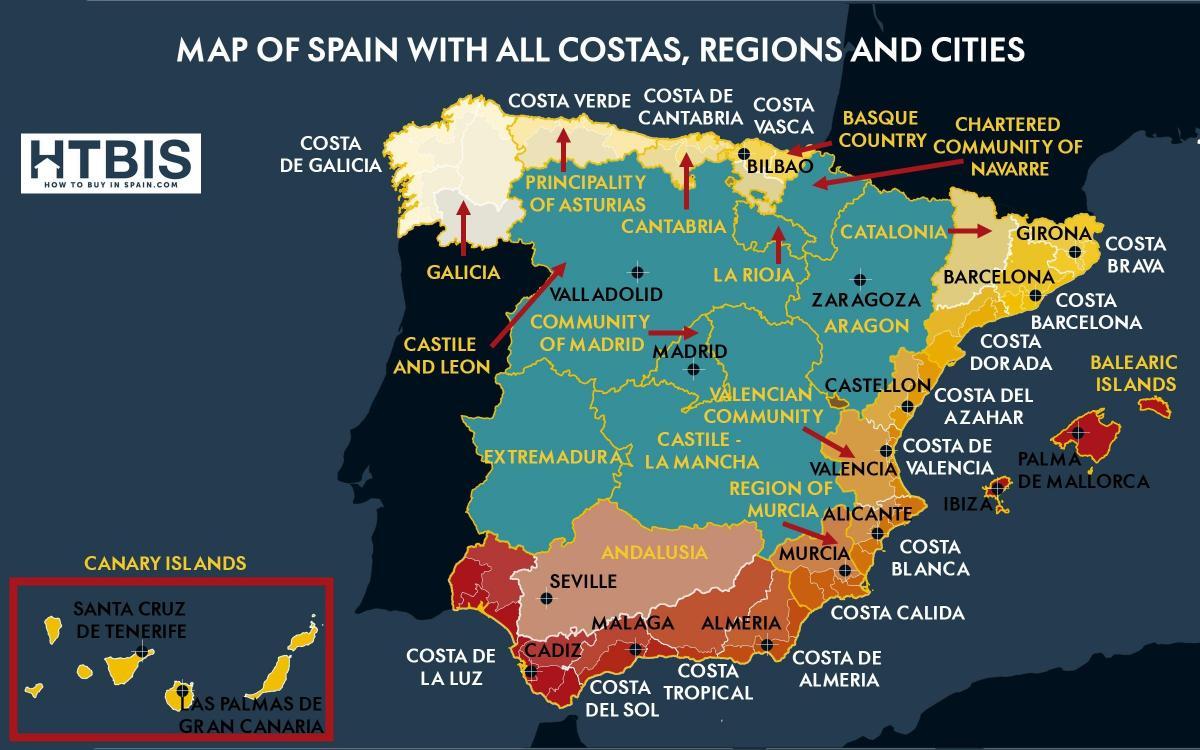 Kort Over Ost Kyst Af Spanien Detaljeret Kort Over Det Ostlige