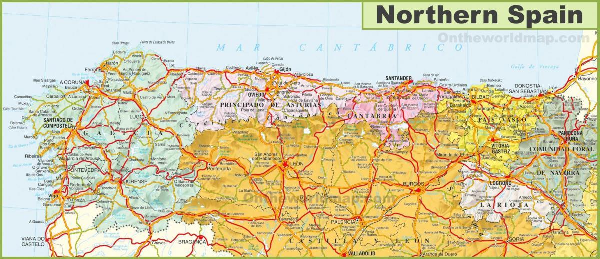 Kort Over Det Nordlige Spanien Kort Over Det Nordlige Spanien