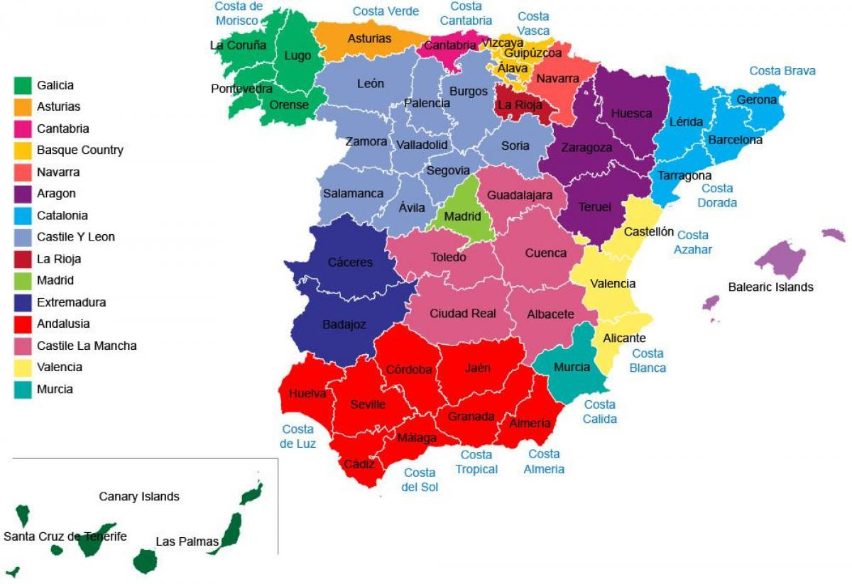 Spanien Provinser Kort Spanien Kort Regioner Provinser Det