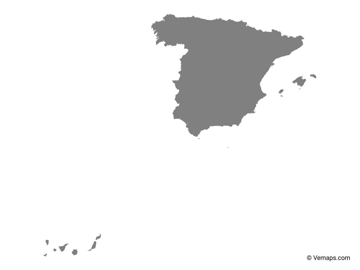 Spanien Kort Vektor Spanien Vektor Kort Det Sydlige Europa